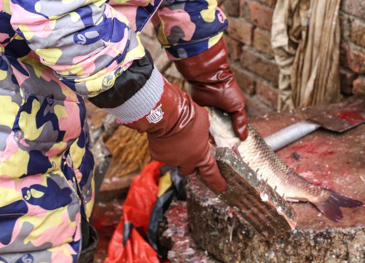 棕绒抓鱼手套