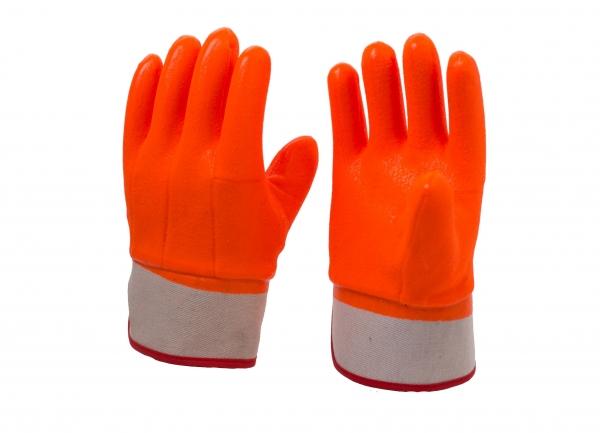安全袖口砂面荧光防寒手套