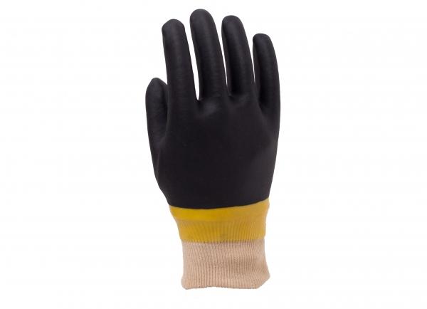 黄色光面黑色砂面手套