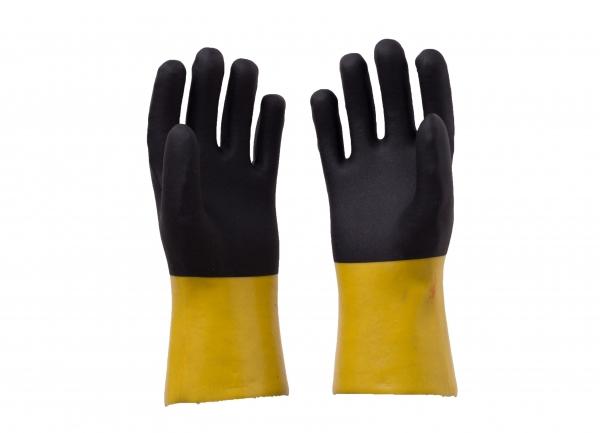 黄色光面黑色砂面pvc手套