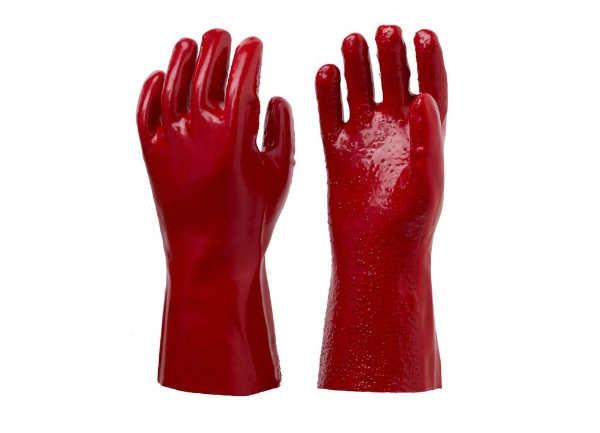 红色毛巾布手套